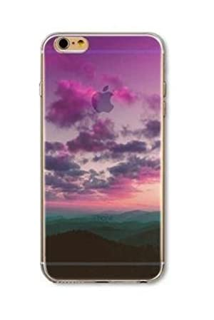 iPhone 7 , Colorful Rubber Flexible Silicone Case Bumper for Apple Clear Cover - Purple Clouds Sky