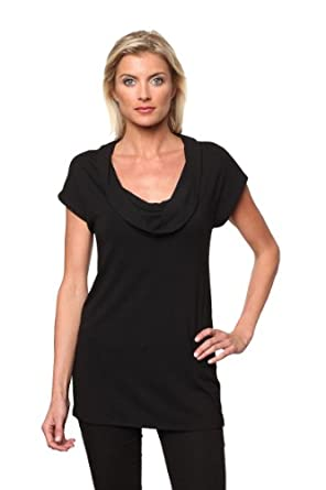 Ebby by Farinaz Drape Tunic Rayon/Spandex Knit Top-Black-XL