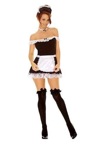 4 Pc Maid Dress, Apron, Neck Piece & Head Piece Black S/M front-30560