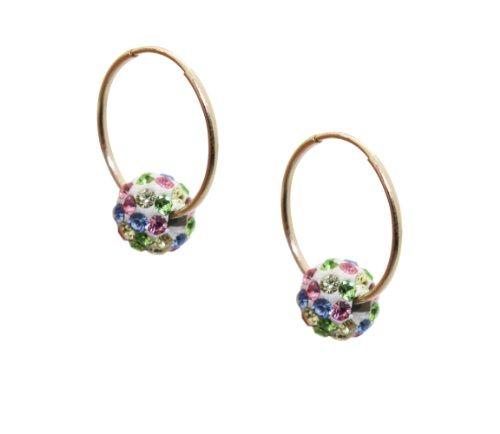 10k Gold Children's 6mm Multi-Color Crystal Slider Hoop Earrings
