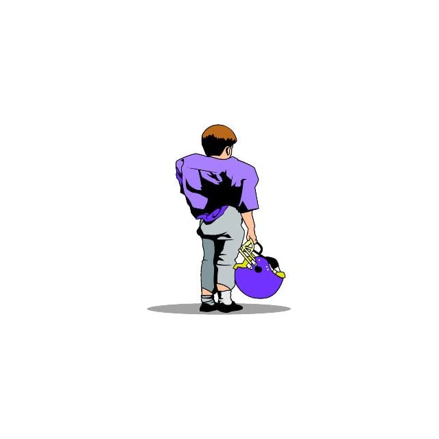 4 Printed color child player back purple FOOTBALL RUGBY FIELD LOCKER TOUCHDOWN ALIEN REFEREE COACH sticker decal for any smooth surface such as windows bumpers laptops or any smooth surface.