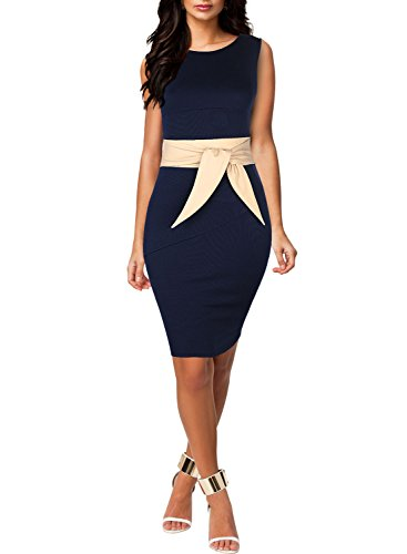 Miusol® Women's Scoop Neck Optical Illusion Belt Evening Cocktail Dress, Navy Blue, Medium