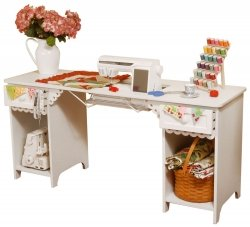 Arrow Sewing Cabinet Olivia Sewing Table with Base Shelves and Drawer - White