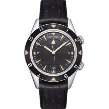 Jaeger LeCoultre Memovox Tribute to Deep Sea Black Dial Black Leather Mens Watch Q2028470