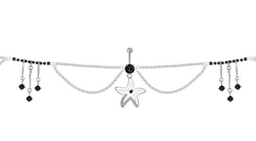 Belly Ring with Dangling Starfish Design and Belly Chain, Danglers with Cz Jewels