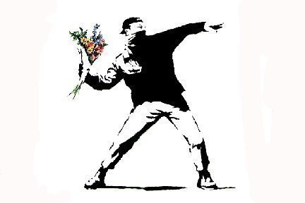 grande-affiche-plastifiee-banksy-flower-thrower-mini-poster-dimensions-24-cm-x-61-cm-17-x-43-cm