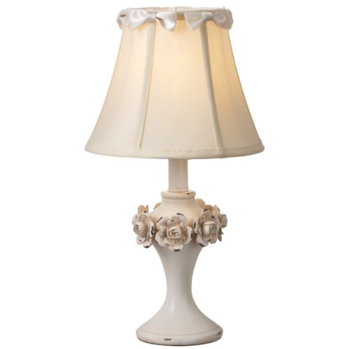 """Pack Of 2 White French-Inspired Lamps With Bow And Rose Flower Accents 17.5"""" front-278949"""