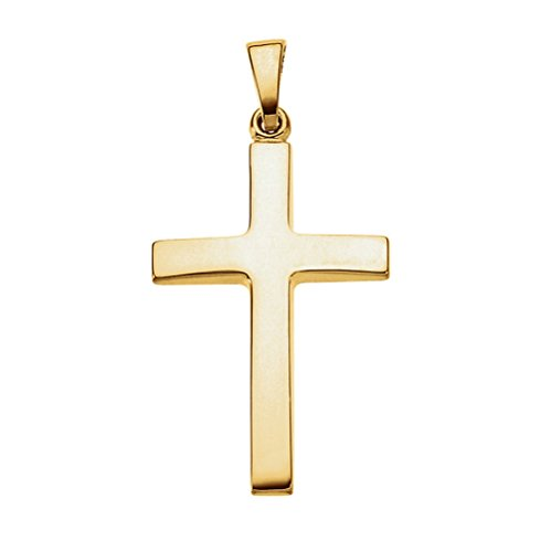 14K-Yellow-Gold-Smooth-Tapered-Simple-Cross-Pendant-1-Inch-26mm