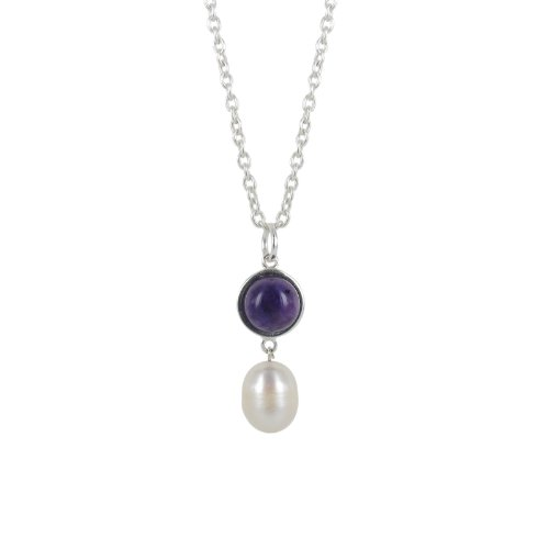 Sterling Silver Purple and Freshwater Pearl Drop Pendant Necklace, 18