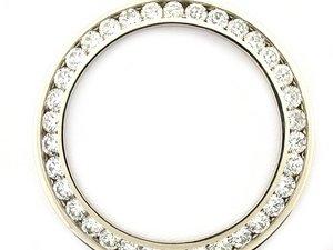 Mens 4ct Channel Set Diamond Bezel 14kw for Rolex Watch