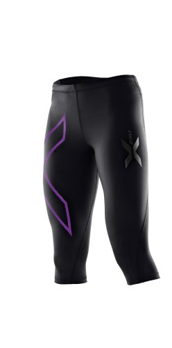 WOMAN 3/4 COMPRESSION TIGHTS BLACK PURPLE XS