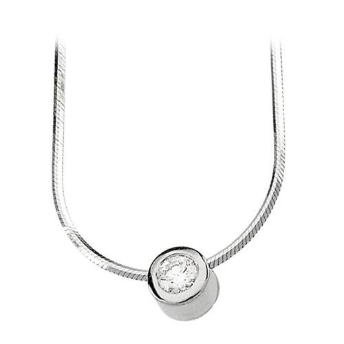 14K White Gold 1/4 ct. Bezel Set Diamond Solitaire Necklace