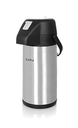 Bama Thermos à Pompe/ Pichet Isotherme à Pompe - Inox - Double Paroi (2,5 Litres)