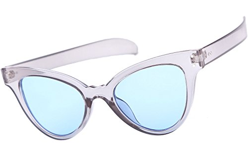 Beison Classic Womens Cat Eye Glasses Sunglasses Tinted Lens UV400 Protection (Clear blue frame / Light blue lens, 50mm) (Light Blue Sunglasses compare prices)