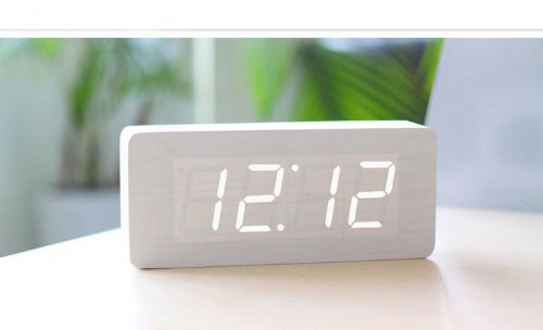 Kabb White Wood Grain White Led Light Alarm Clock - Time Temperature And Date - Sound Control - Latest Generation