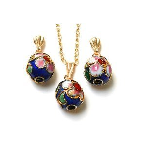 9ct Gold Oriental Blue Enamel Ball Pendant and Earrings set
