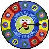 Joy Carpets Kid Essentials Language & Literacy Round Time to Read Rug, Multicolored, 7'7""