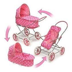 Badger Basket Pink Polka Dots 3-in-1 Doll Pram, Carrier, and Stroller (fits American Girl dolls)