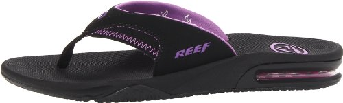 Reef Women's Fanning Sandal,Black/Black/Purple,5 M US