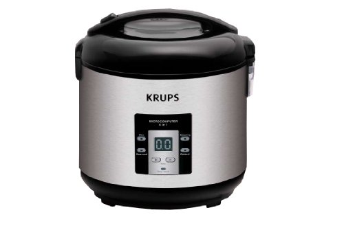 KRUPS RK7009 4 in 1 Slow Cooker 5 Cup Rice Cooker Steamer and Oatmeal Cooker Stainless Steel and Black