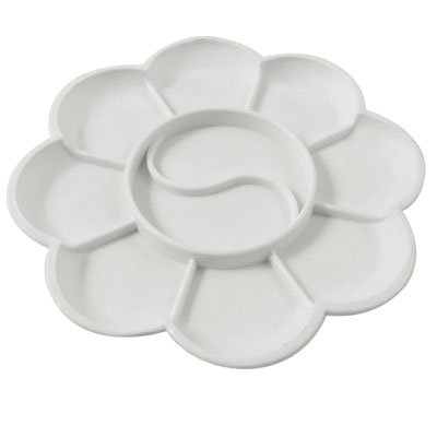 Amico Plastic 10 Compartment Watercolor Mixing Plate Paint Palette White