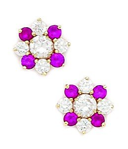 14ct Yellow Gold Red CZ Big Flower Fancy Post Earrings - Measures 10x10mm