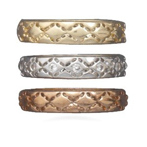 rhodium plated, 14 karat gold plated and rose tone band. / Size 8