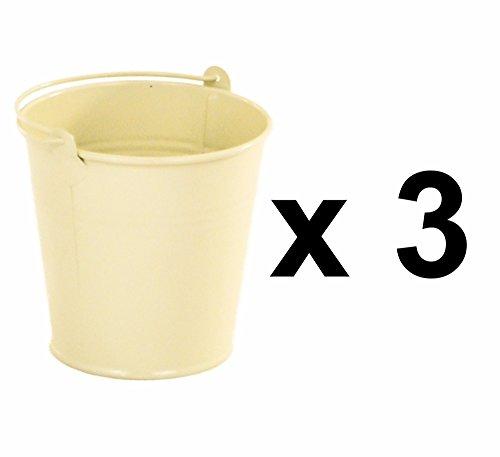 East2eden Set Of 3 Medium Vintage Cream Enamel Bucket Plant Herb Pot Planter Waste Bin