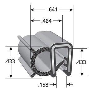 Trim-Lok DDA1549-100 EPDM Dual Durometer Rubber/Metal Carrier Coextruded Trim Seal with Side Bulb, Fits Edge  0.040