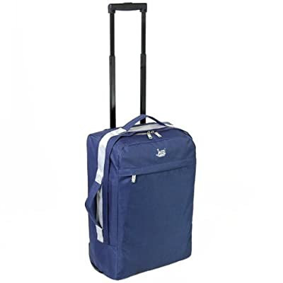 Jazzi London Super Lightweight Cabin Approved Suitcase (Navy) - H54 x W33 x D20 cm all parts included from Jazzi London