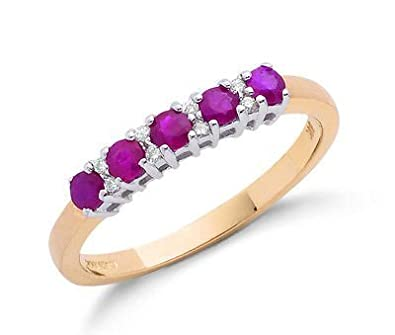 J R Jewellery 416237 9ct Yellow Gold Real Ruby and Diamond Eternity Ring