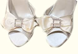 Absolutely Audrey Sabrina Bow Shoe Clips (White)