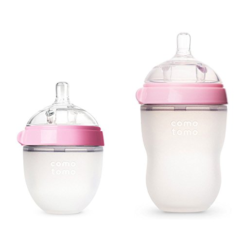 Comotomo Natural Feel Bundle - 8 Oz Baby Bottle Pink & 5 Oz Baby Bottle Pink