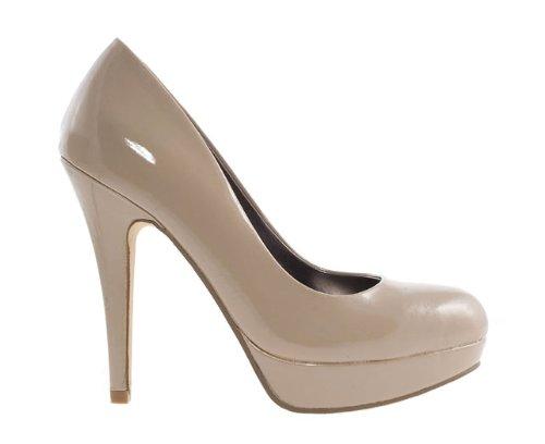 Barratts Womens Nude Patent Platform Court Shoe