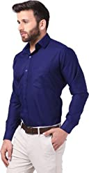 Mesh Full Sleeves Casual Cotton Blend Shirt for Men's/Boy's (Blue) -40