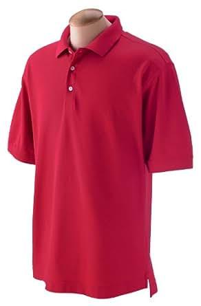 Devon & Jones Men's Pima Pique Short Sleeve Polo, 6XL, Red