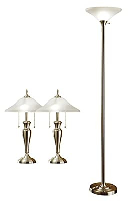 Artiva USA Triple-Pack, Classic Cordinates, 71-Inch Torchiere and 24-Inch Table Lamps Set in Brushed Steel Finish with Quality Hammered Glass Shades