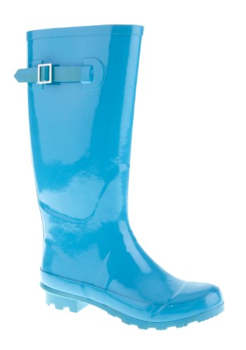 KCMODE Ladies Bright Blue Winter Festival Wellington Boots