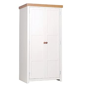 JAMESTOWN Kleiderschrank 2 Turen in Weiß (old english white-mellow Eichenholz-finish, Griffe oben &