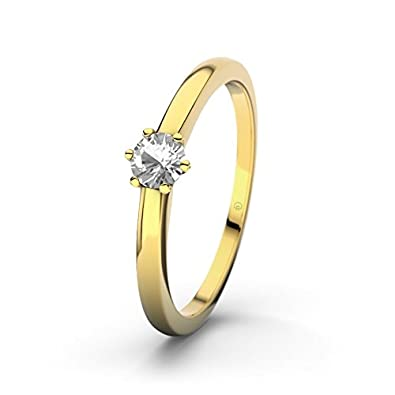 21DIAMONDS Women's Ring Den Haag Engagement Ring Brilliant Cut White Topaz 14 carat (585) Yellow Gold Engagement Ring