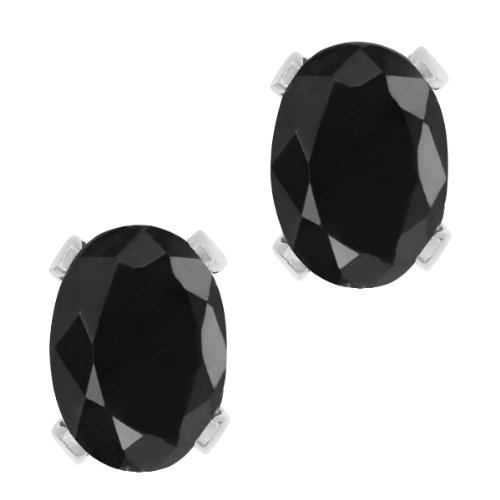 332-Ct-Oval-8X6MM-Black-Sapphire-Gemstone-925-Sterling-Silver-4-prong-Stud-Earrings