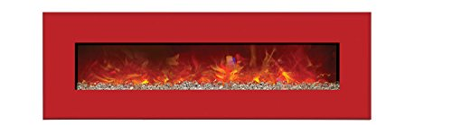 Amantii Advanced Series Wall Mount/Built-In Electric Fireplace With Candy Apple Red Steel Surround, 58-Inch