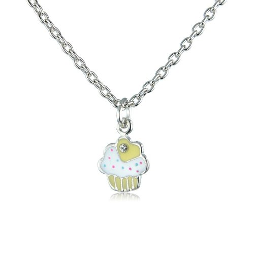 Cupcake children's necklace - matching ring and earrings available, also other colour options - (Yellow)