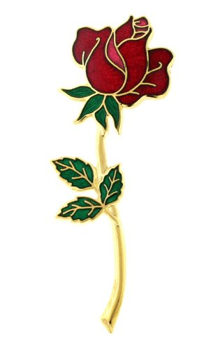 Hand enameled and gold plated rose pin or brooch