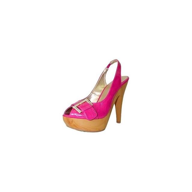 Qupid Impress Pink Crinkle Crystal Buckle Platform Heels (5.5) Shoes