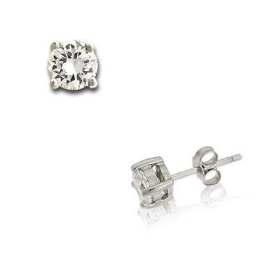 Simple yet Pretty Sterling Silver Stud Earrings in 5mm, 4-prong Basket Setting Crystal Design(WoW !With Purchase Over $50 Receive A Marcrame Bracelet Free)