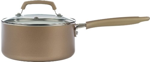 WearEver C94424 Pure Living Nonstick Ceramic Coating Scratch Resistant PTFE PFOA and Cadmium Free Dishwasher Safe Oven Safe Sauce Pan Cookware, 3-Quart, Gold (Oven Safe Small Pot compare prices)