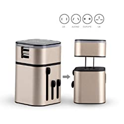 MOCREO®Two USB Detachable Universal World Travel Charger All-in-one UK/EU/US/AUS Plugs Safety World Travel Adapter 3200mA Dual USB Ports World Travel Charger ( Dual USB For Home Use)(Champagne)
