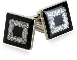 Black and Silver Concentric Diamond Dust Cufflinks by Cuff-Daddy