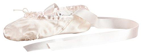 Ballettschläppchen aus Satin, geteilte Ledersohle, rosa
